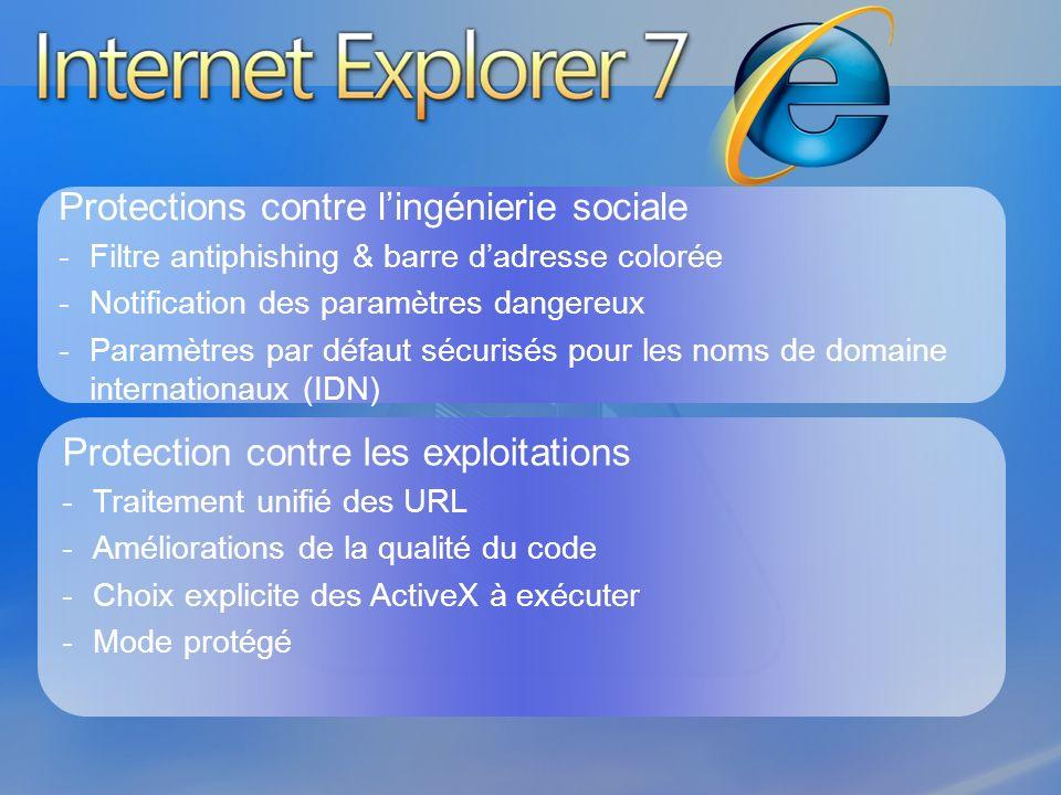 Protection contre les exploitations -Traitement unifié des URL -Améliorations de la qualité du code -Choix explicite des ActiveX à exécuter -Mode prot