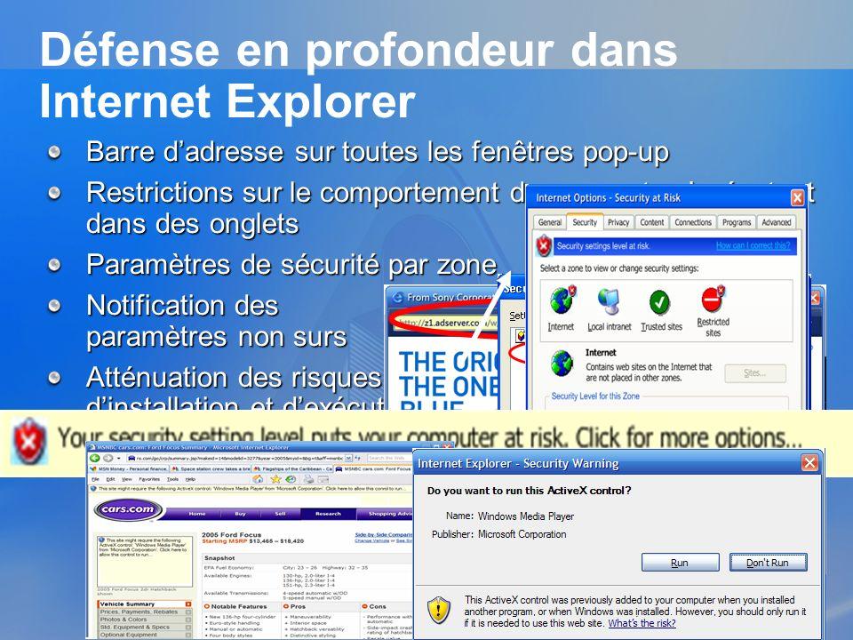 Défense en profondeur dans Internet Explorer Barre dadresse sur toutes les fenêtres pop-up Restrictions sur le comportement des prompts sexécutant dan