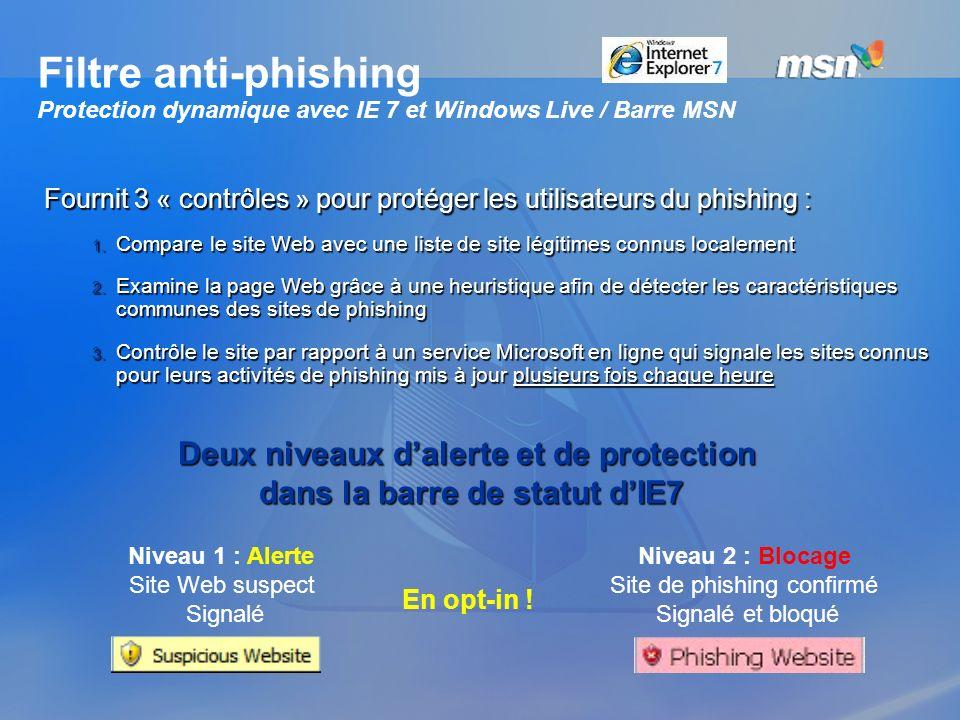 Filtre anti-phishing Protection dynamique avec IE 7 et Windows Live / Barre MSN Fournit 3 « contrôles » pour protéger les utilisateurs du phishing : 1
