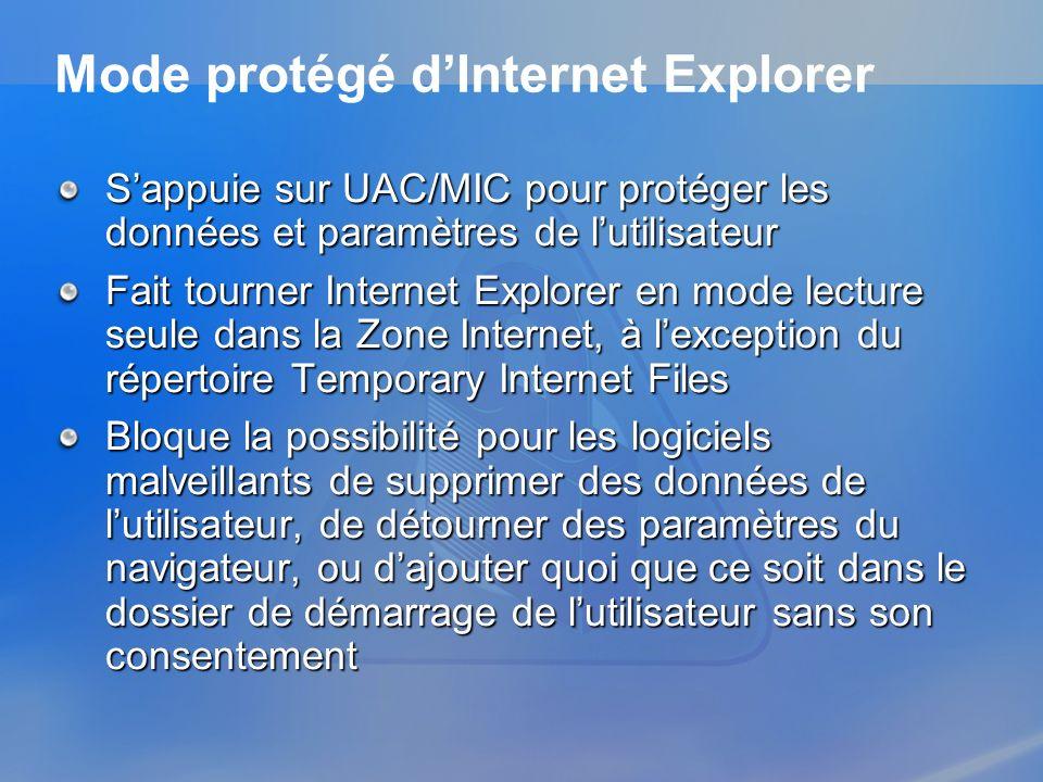 Mode protégé dInternet Explorer Sappuie sur UAC/MIC pour protéger les données et paramètres de lutilisateur Fait tourner Internet Explorer en mode lec
