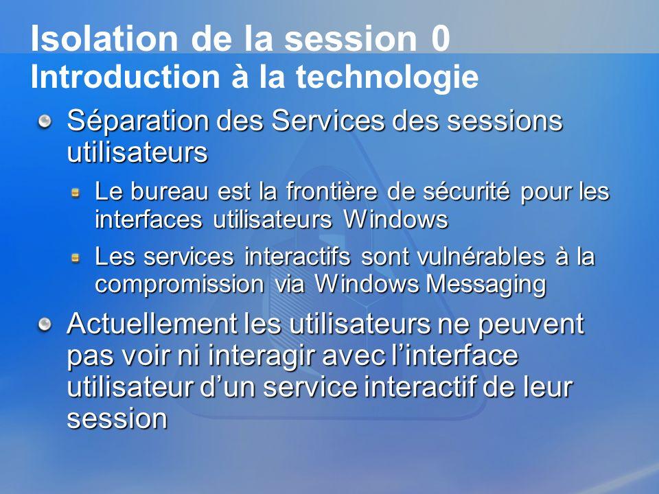 Isolation de la session 0 Introduction à la technologie Séparation des Services des sessions utilisateurs Le bureau est la frontière de sécurité pour