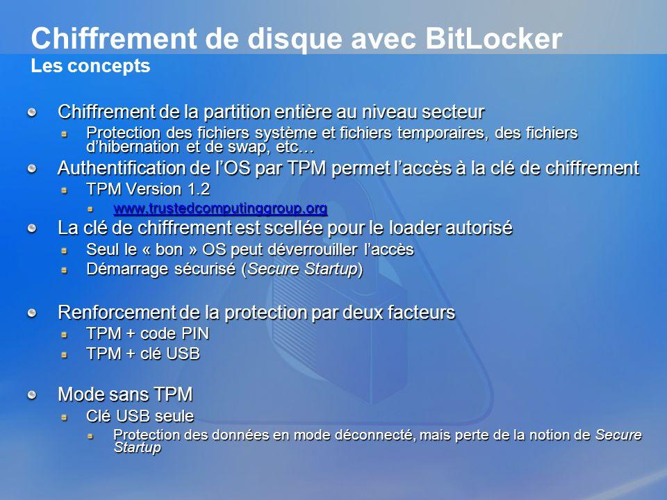 Chiffrement de disque avec BitLocker Les concepts Chiffrement de la partition entière au niveau secteur Protection des fichiers système et fichiers te