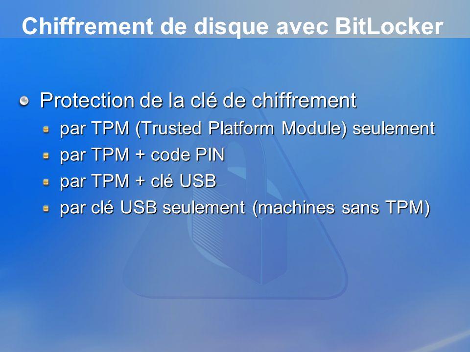 Chiffrement de disque avec BitLocker Protection de la clé de chiffrement par TPM (Trusted Platform Module) seulement par TPM + code PIN par TPM + clé