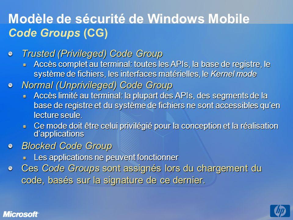Trusted (Privileged) Code Group Accès complet au terminal: toutes les APIs, la base de registre, le système de fichiers, les interfaces matérielles, l
