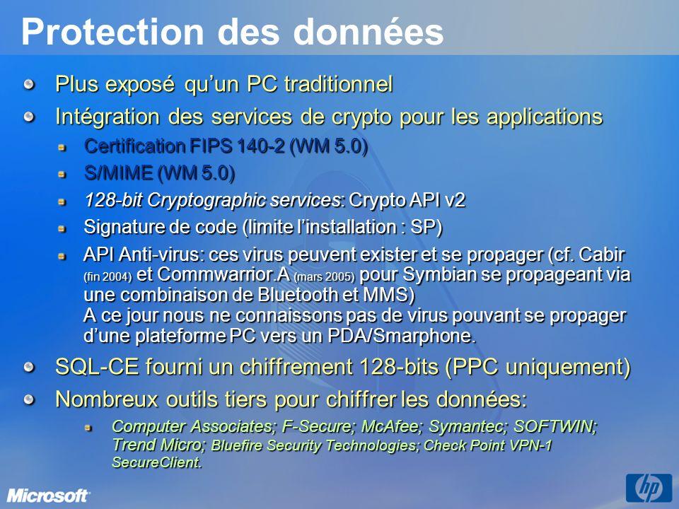 Protection des données Plus exposé quun PC traditionnel Intégration des services de crypto pour les applications Certification FIPS 140-2 (WM 5.0) S/M