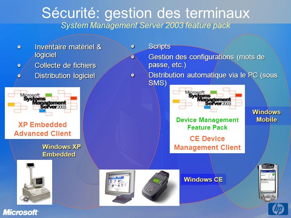 Windows CE Windows XP Embedded Windows Mobile Sécurité: gestion des terminaux System Management Server 2003 feature pack XP Embedded Advanced Client D