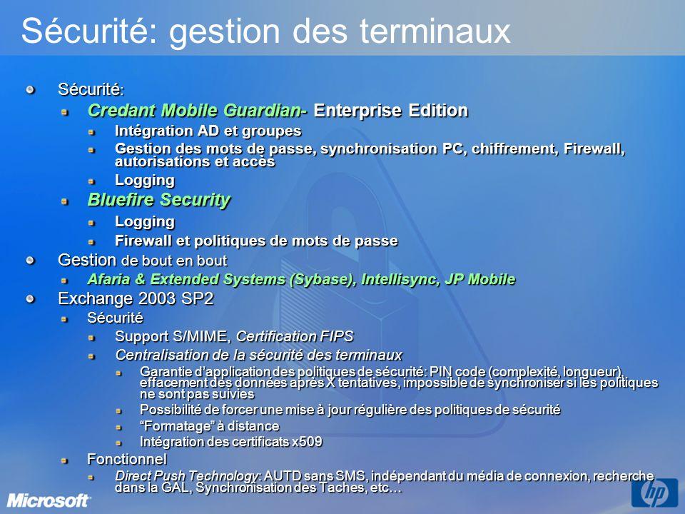 Sécurité : Credant Mobile Guardian- Enterprise Edition Intégration AD et groupes Gestion des mots de passe, synchronisation PC, chiffrement, Firewall,