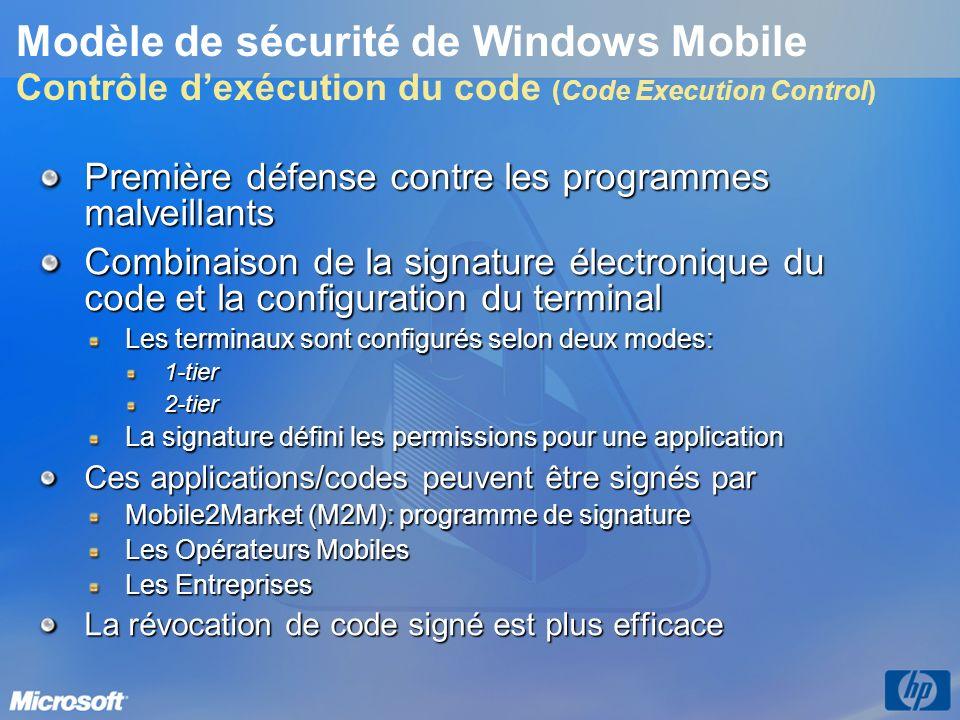 Première défense contre les programmes malveillants Combinaison de la signature électronique du code et la configuration du terminal Les terminaux son
