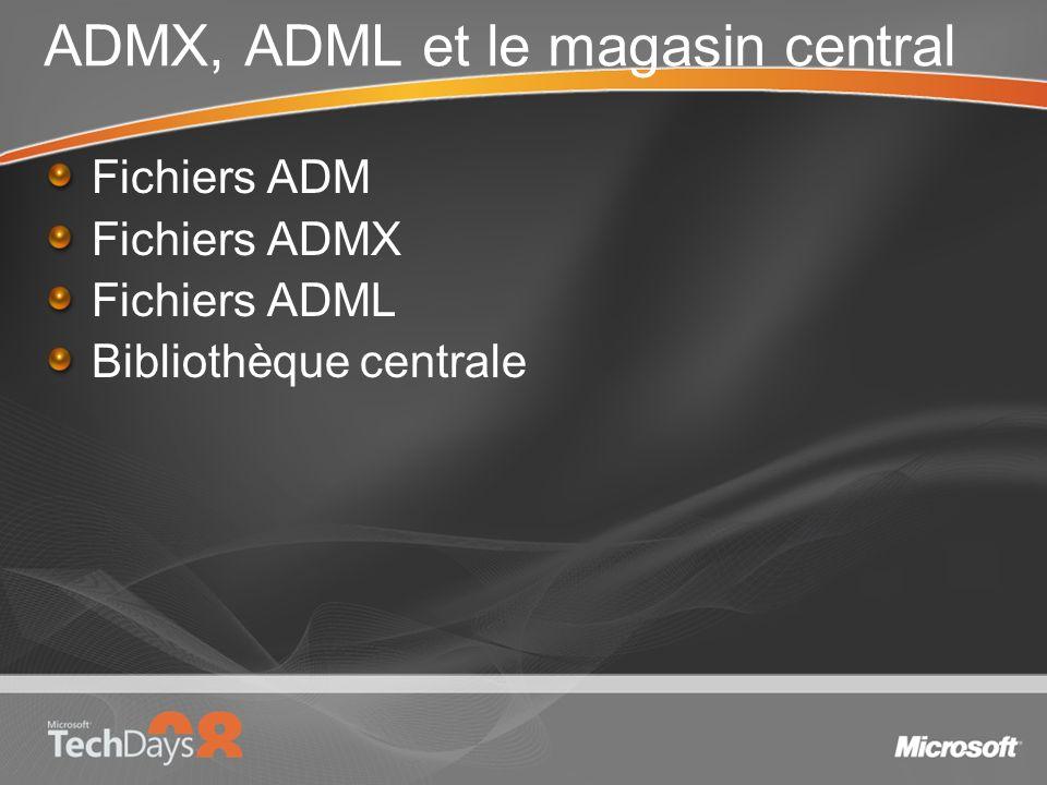 ADMX, ADML et le magasin central Fichiers ADM Fichiers ADMX Fichiers ADML Bibliothèque centrale