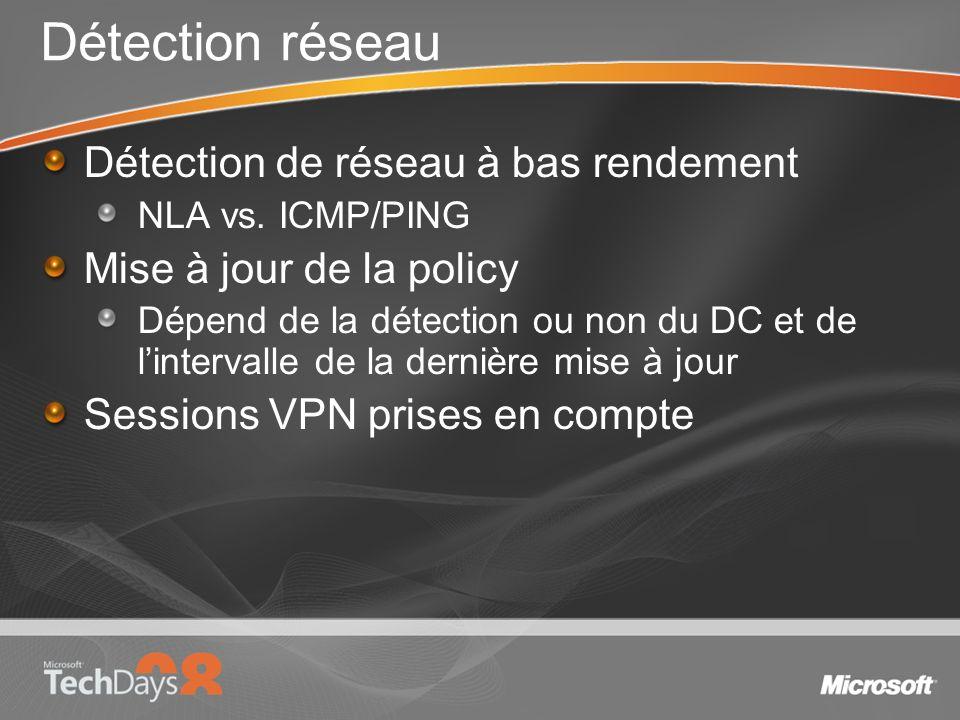 Détection réseau Détection de réseau à bas rendement NLA vs. ICMP/PING Mise à jour de la policy Dépend de la détection ou non du DC et de lintervalle