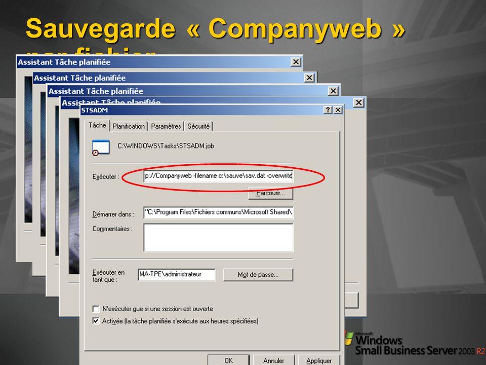 Sauvegarde « Companyweb » par fichier