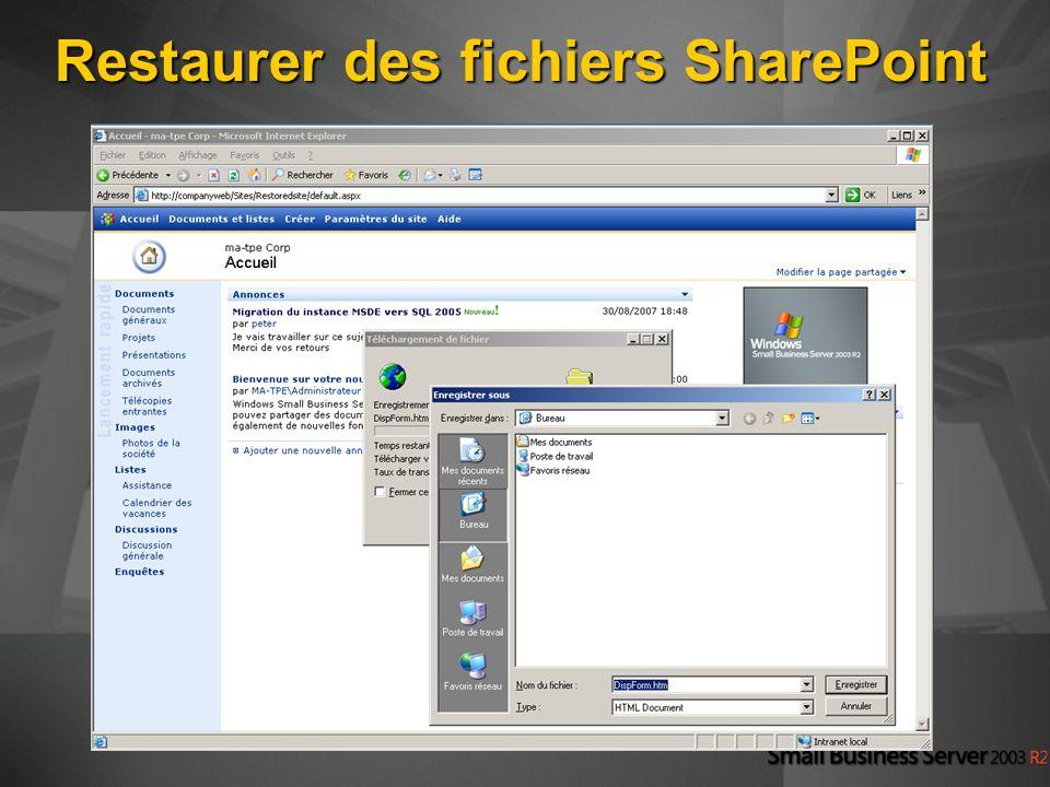 Restaurer des fichiers SharePoint
