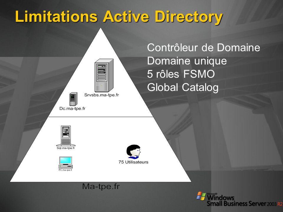 Limitations Active Directory Contrôleur de Domaine Domaine unique 5 rôles FSMO Global Catalog