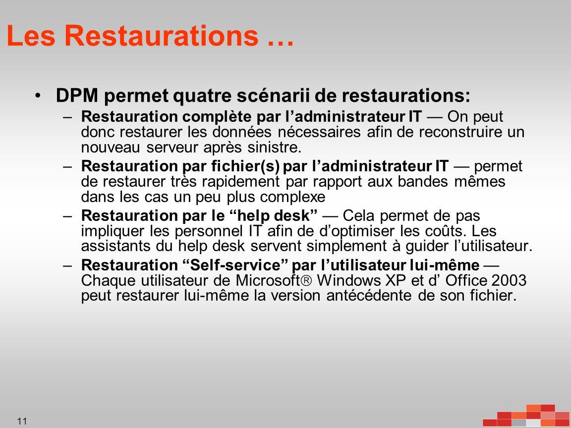 11 Les Restaurations … DPM permet quatre scénarii de restaurations: –Restauration complète par ladministrateur IT On peut donc restaurer les données nécessaires afin de reconstruire un nouveau serveur après sinistre.