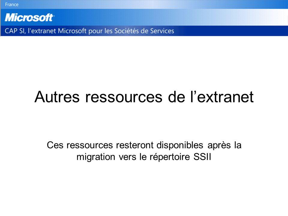 Autres ressources de lextranet Ces ressources resteront disponibles après la migration vers le répertoire SSII