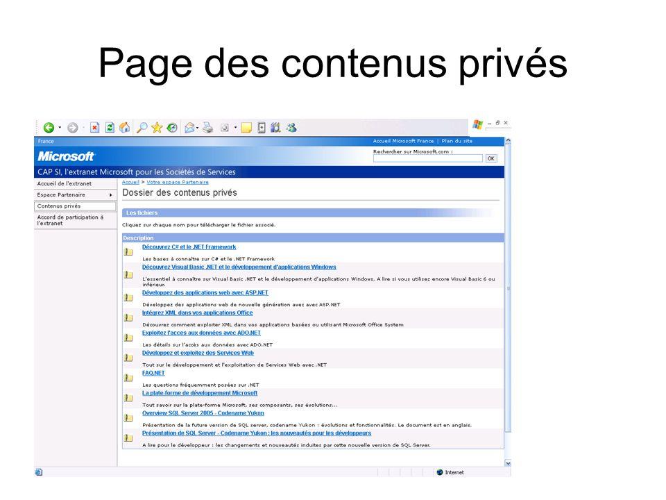 Page des contenus privés