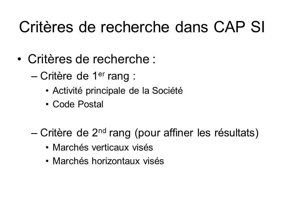 Critères de recherche dans CAP SI Critères de recherche : –Critère de 1 er rang : Activité principale de la Société Code Postal –Critère de 2 nd rang (pour affiner les résultats) Marchés verticaux visés Marchés horizontaux visés