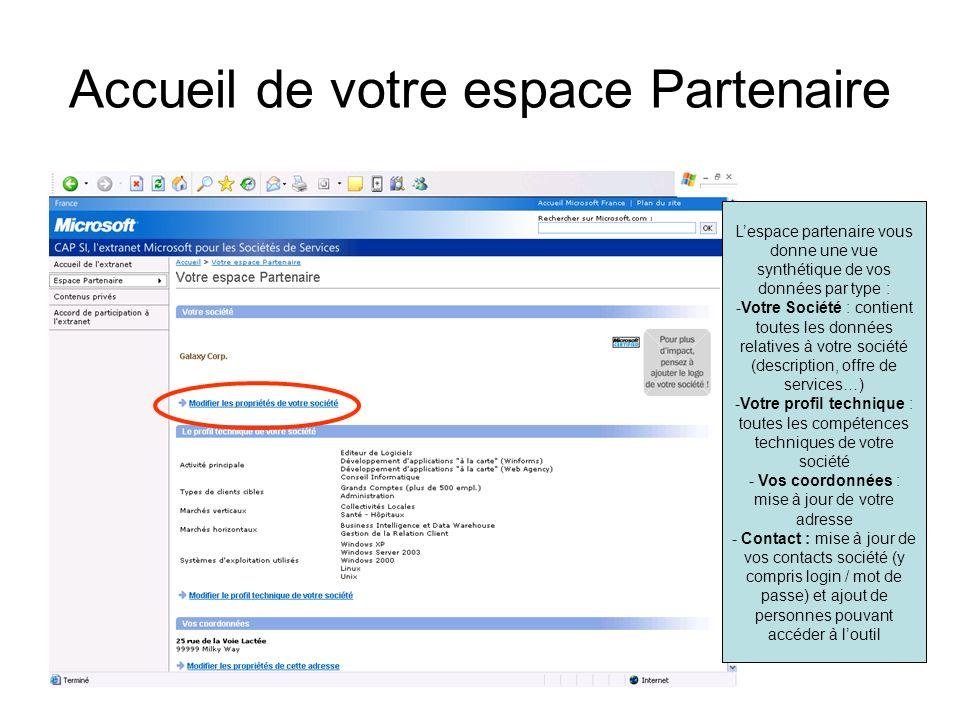 Accueil de votre espace Partenaire Lespace partenaire vous donne une vue synthétique de vos données par type : -Votre Société : contient toutes les do