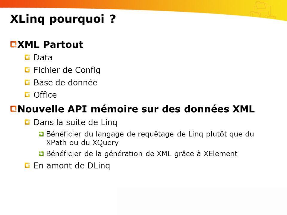 XLinq pourquoi ? XML Partout Data Fichier de Config Base de donnée Office Nouvelle API mémoire sur des données XML Dans la suite de Linq Bénéficier du