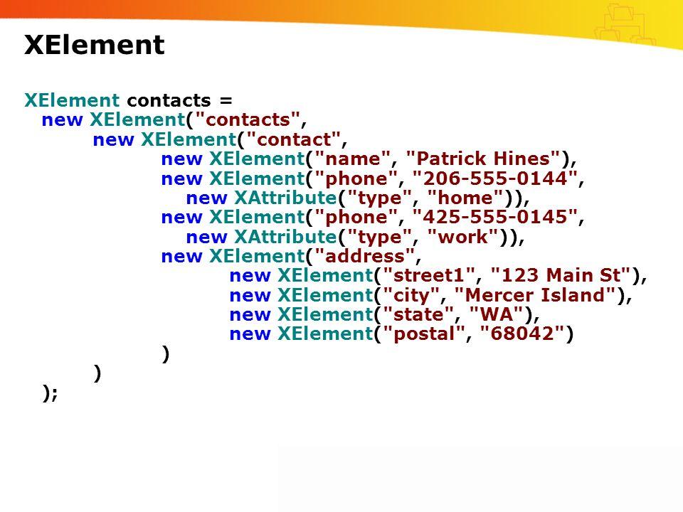 XElement XElement contacts = new XElement(