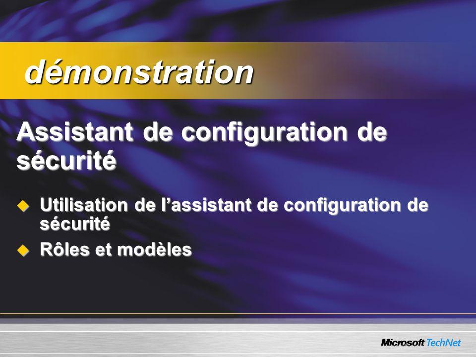 Assistant de configuration de sécurité Utilisation de lassistant de configuration de sécurité Utilisation de lassistant de configuration de sécurité Rôles et modèles Rôles et modèles démonstration démonstration