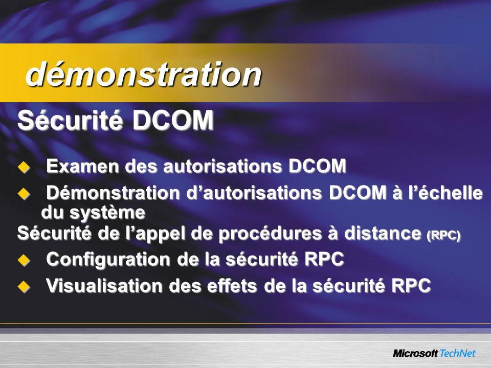 Sécurité de lappel de procédures à distance (RPC) Configuration de la sécurité RPC Configuration de la sécurité RPC Visualisation des effets de la sécurité RPC Visualisation des effets de la sécurité RPC démonstration démonstration Sécurité DCOM Examen des autorisations DCOM Examen des autorisations DCOM Démonstration dautorisations DCOM à léchelle du système Démonstration dautorisations DCOM à léchelle du système
