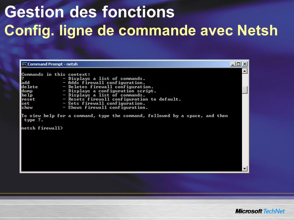 Gestion des fonctions Config. ligne de commande avec Netsh