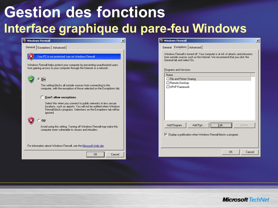 Gestion des fonctions Interface graphique du pare-feu Windows