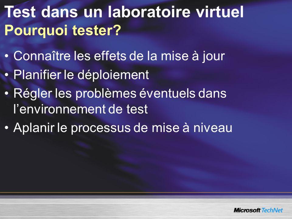 Test dans un laboratoire virtuel Pourquoi tester.
