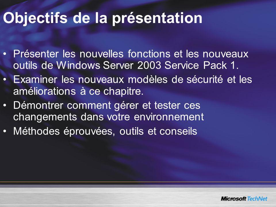 Objectifs de la présentation Présenter les nouvelles fonctions et les nouveaux outils de Windows Server 2003 Service Pack 1.