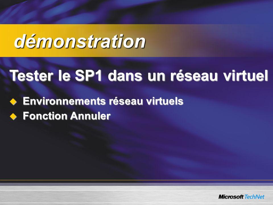 Tester le SP1 dans un réseau virtuel Environnements réseau virtuels Environnements réseau virtuels Fonction Annuler Fonction Annuler démonstration démonstration