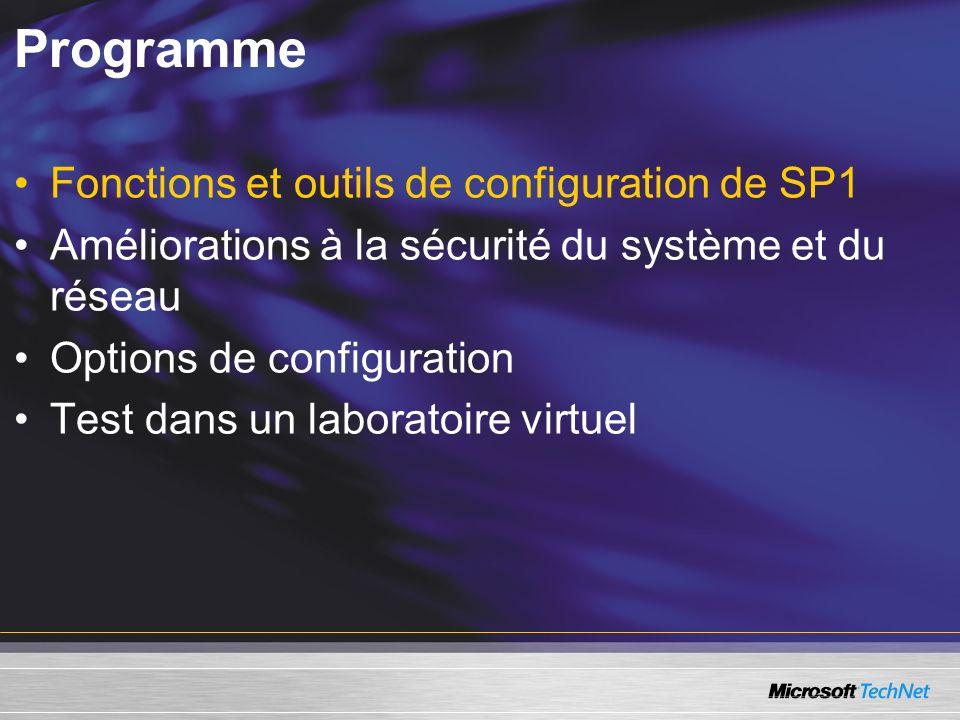 Programme Fonctions et outils de configuration de SP1 Améliorations à la sécurité du système et du réseau Options de configuration Test dans un laboratoire virtuel