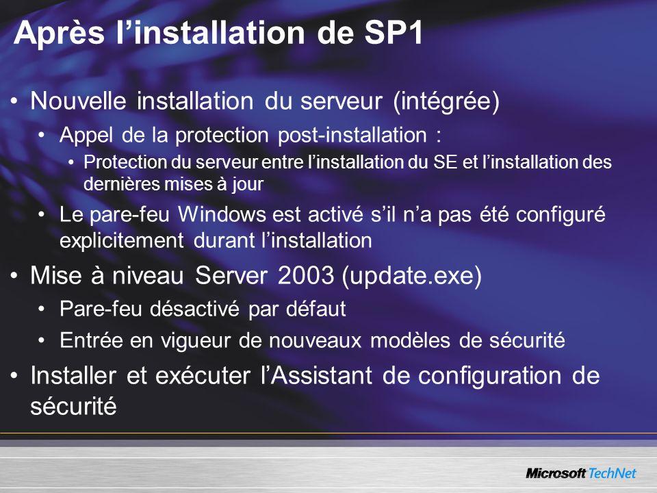Après linstallation de SP1 Nouvelle installation du serveur (intégrée) Appel de la protection post-installation : Protection du serveur entre linstallation du SE et linstallation des dernières mises à jour Le pare-feu Windows est activé sil na pas été configuré explicitement durant linstallation Mise à niveau Server 2003 (update.exe) Pare-feu désactivé par défaut Entrée en vigueur de nouveaux modèles de sécurité Installer et exécuter lAssistant de configuration de sécurité