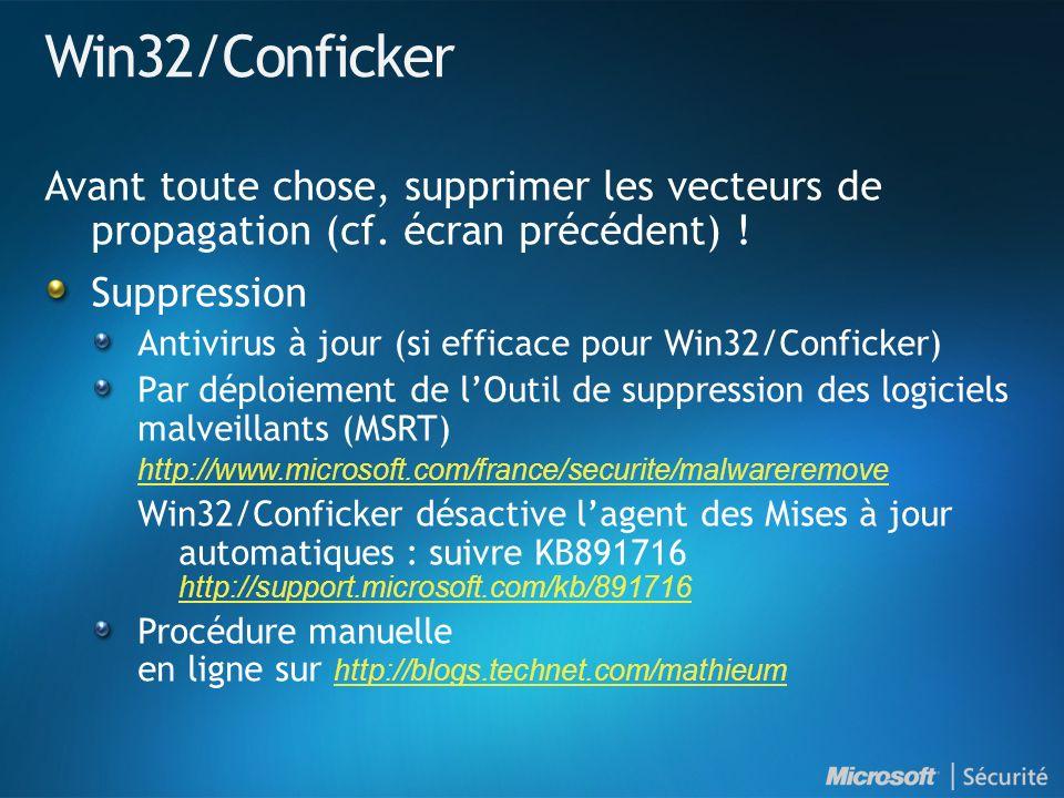 Win32/Conficker Avant toute chose, supprimer les vecteurs de propagation (cf.
