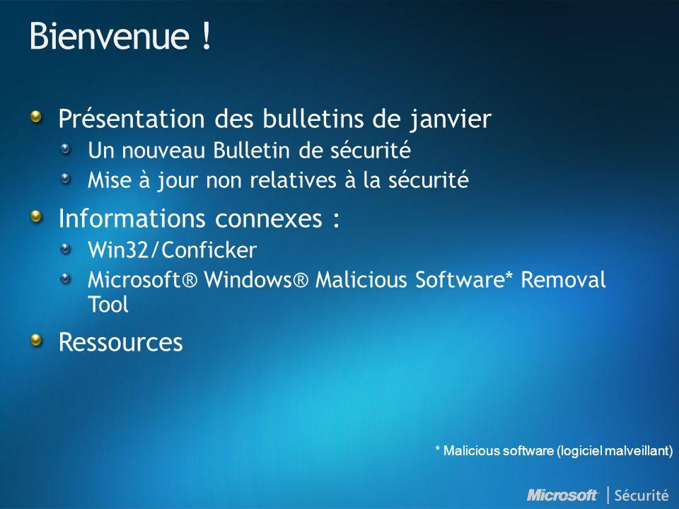 Windows Malicious Software Removal Tool Ajoute la possibilité de supprimer : Win32/Banload Win32/Conficker Disponible en tant que mise à jour prioritaire sous Windows Update et Microsoft Update : Disponible par WSUS 2.0 et WSUS 3.0 Disponible en téléchargement à l adresse suivante : www.microsoft.com/france/securite/malwareremove Consultez les dernières informations sur le contexte des menaces dans le Rapport sur les données de sécurité : www.microsoft.com/france/sir