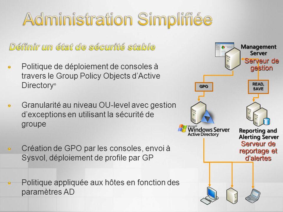 Politique de déploiement de consoles à travers le Group Policy Objects dActive Directory ® Granularité au niveau OU-level avec gestion dexceptions en