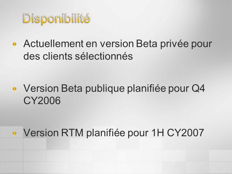 Actuellement en version Beta privée pour des clients sélectionnés Version Beta publique planifiée pour Q4 CY2006 Version RTM planifiée pour 1H CY2007