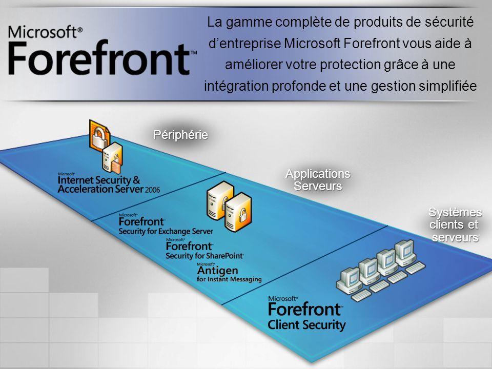 La gamme complète de produits de sécurité dentreprise Microsoft Forefront vous aide à améliorer votre protection grâce à une intégration profonde et u