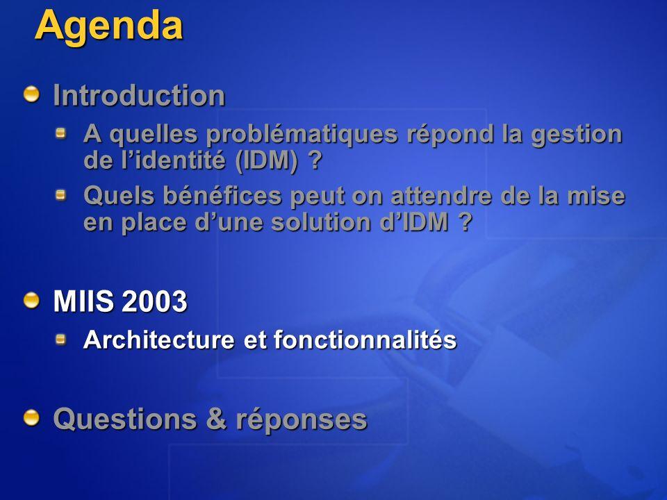 Agenda Introduction A quelles problématiques répond la gestion de lidentité (IDM) .