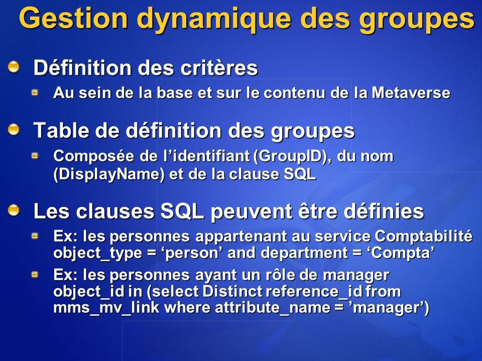 Gestion dynamique des groupes Définition des critères Au sein de la base et sur le contenu de la Metaverse Table de définition des groupes Composée de lidentifiant (GroupID), du nom (DisplayName) et de la clause SQL Les clauses SQL peuvent être définies Ex: les personnes appartenant au service Comptabilité object_type = person and department = Compta Ex: les personnes ayant un rôle de manager object_id in (select Distinct reference_id from mms_mv_link where attribute_name = manager)