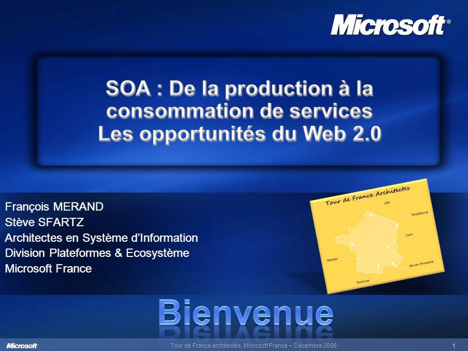 Tour de France architectes, Microsoft France – Décembre 20061 François MERAND Stève SFARTZ Architectes en Système dInformation Division Plateformes &