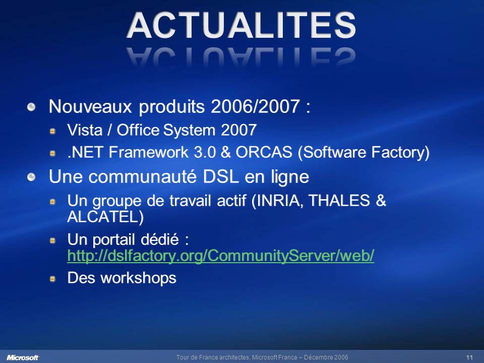 Tour de France architectes, Microsoft France – Décembre 200611 Nouveaux produits 2006/2007 : Vista / Office System 2007.NET Framework 3.0 & ORCAS (Software Factory) Une communauté DSL en ligne Un groupe de travail actif (INRIA, THALES & ALCATEL) Un portail dédié : http://dslfactory.org/CommunityServer/web/ http://dslfactory.org/CommunityServer/web/ Des workshops Nouveaux produits 2006/2007 : Vista / Office System 2007.NET Framework 3.0 & ORCAS (Software Factory) Une communauté DSL en ligne Un groupe de travail actif (INRIA, THALES & ALCATEL) Un portail dédié : http://dslfactory.org/CommunityServer/web/ http://dslfactory.org/CommunityServer/web/ Des workshops