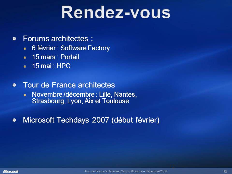 Tour de France architectes, Microsoft France – Décembre 200612 12 Forums architectes : 6 février : Software Factory 15 mars : Portail 15 mai : HPC Tou