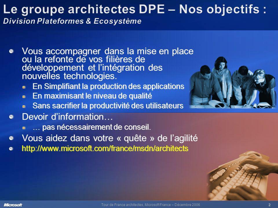 Tour de France architectes, Microsoft France – Décembre 20062 Vous accompagner dans la mise en place ou la refonte de vos filières de développement et lintégration des nouvelles technologies.