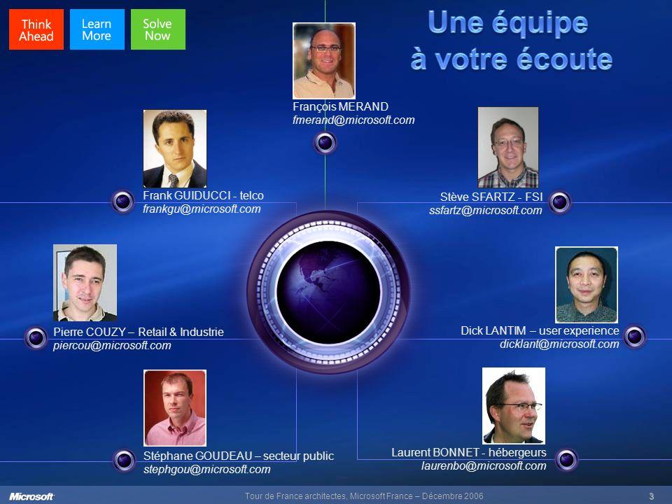 Tour de France architectes, Microsoft France – Décembre 20063 Frank GUIDUCCI - telco frankgu@microsoft.com Pierre COUZY – Retail & Industrie piercou@m