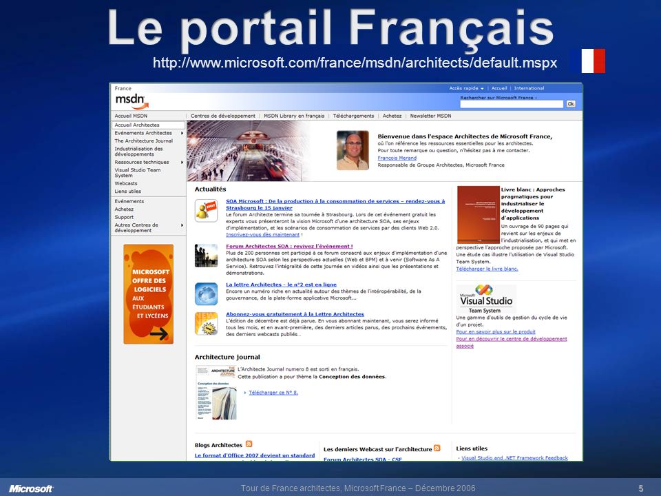 Tour de France architectes, Microsoft France – Décembre 20065 http://www.microsoft.com/france/msdn/architects/default.mspx