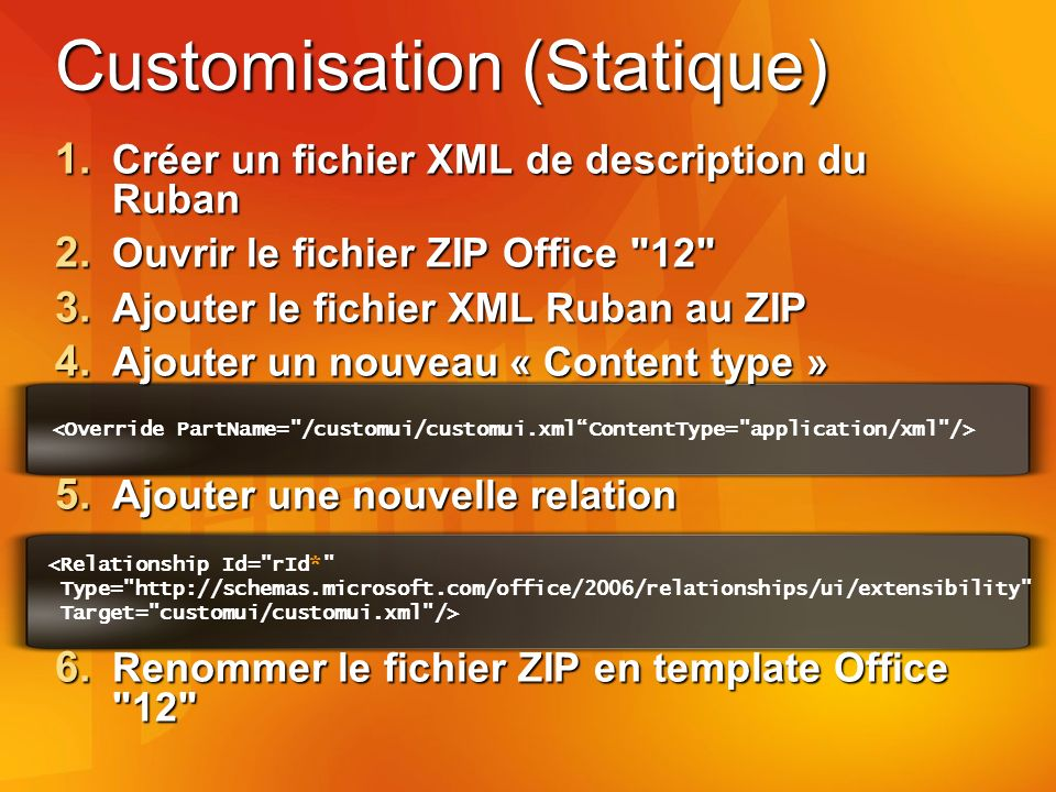 Customisation (Statique) 1. Créer un fichier XML de description du Ruban 2.