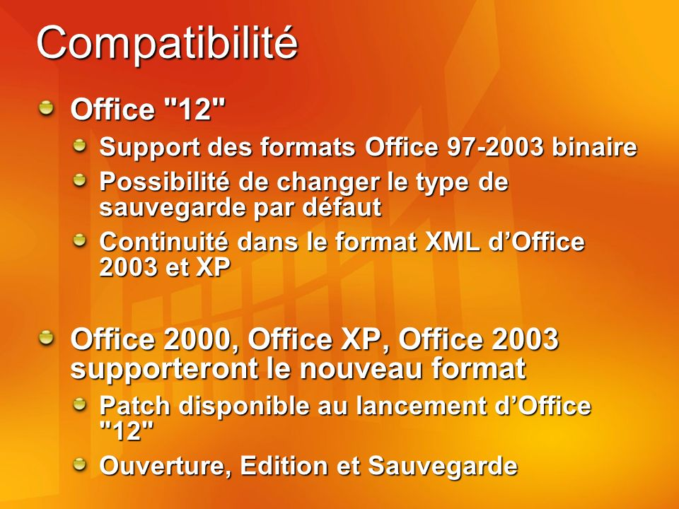 Compatibilité Office