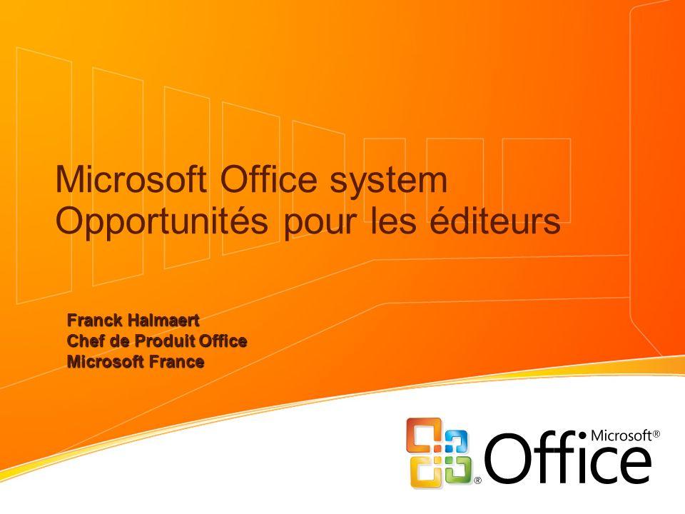 Microsoft Office system Opportunités pour les éditeurs Franck Halmaert Chef de Produit Office Microsoft France