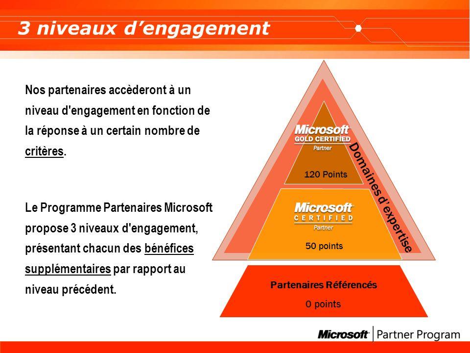 Domaines dexpertise Partenaires Référencés 0 points 120 Points 50 points 3 niveaux dengagement Nos partenaires accèderont à un niveau d engagement en fonction de la réponse à un certain nombre de critères.
